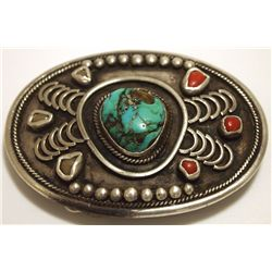 Vintage Old Pawn Navajo Turquoise & Coral Sterling Silver Buckle