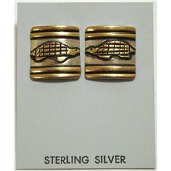 Navajo 12k Gold Fill over Sterling Silver Turtle Post Earrings - Tommy Singer