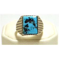 Navajo Sleeping Beauty Turquoise Sterling Silver Men's Ring - Ray Jack