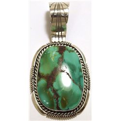 Navajo Green Fox Turquoise Sterling Silver Pendant - Eugene Belone