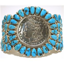 Old Pawn Navajo Turquoise Morgan Dollar Sterling Silver Cuff Bracelet - Justin Wilson