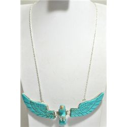 Navajo Turquoise Eagle Sterling Silver Necklace - Ben Livingston
