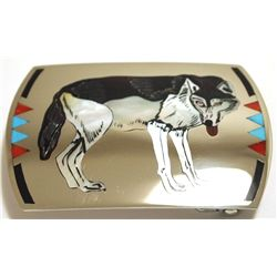 Zuni Multi-Stone Inlay Wolf Sterling Silver Buckle - Dale Edaakie