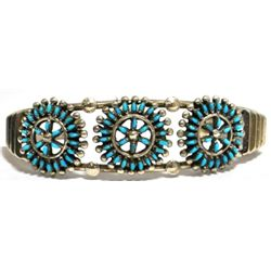 Zuni Turquoise Petit Point Sterling Silver Cuff Bracelet