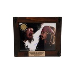 Pirates of the Caribbean Johnny Depp Autograph Photo & Screen Used Gold Coin