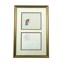 Disney Original Hand Painted Cell & Drawing Goofy