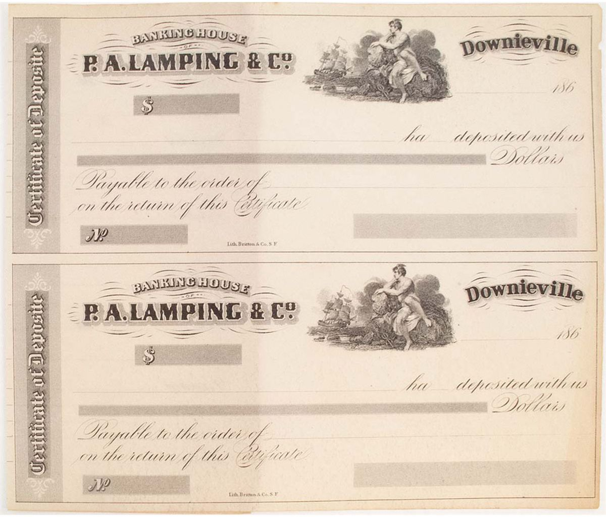 Certificate of depositsdownieville ca lot of 2unused banking certificate of depositsdownieville ca lot of 2unused banking house pa lamping co certif xflitez Images
