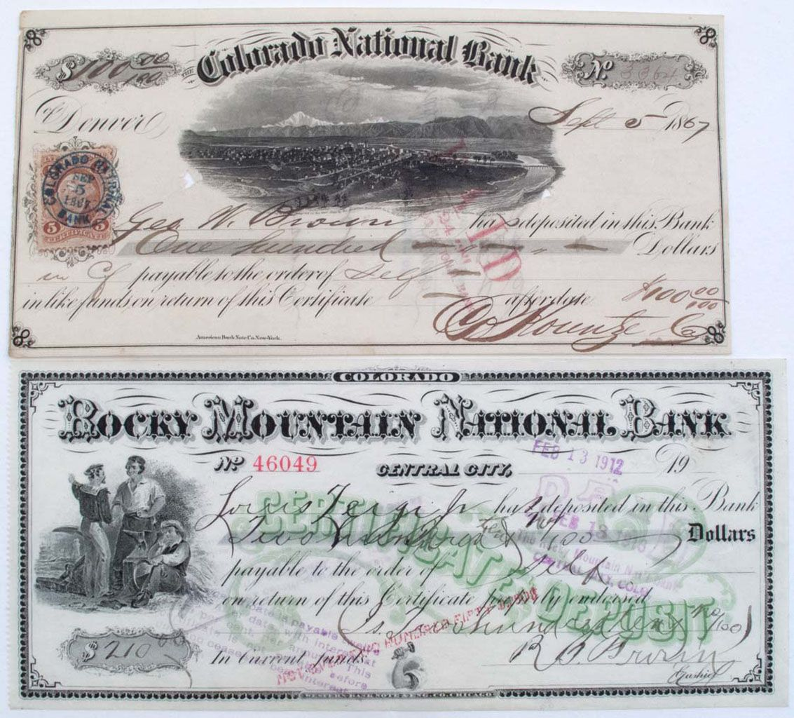 Colorado certificate of deposits dated 1867 1912 lot of 2 rocky colorado certificate of deposits dated 1867 1912 lot of 2 rocky mountain national bank central c xflitez Images