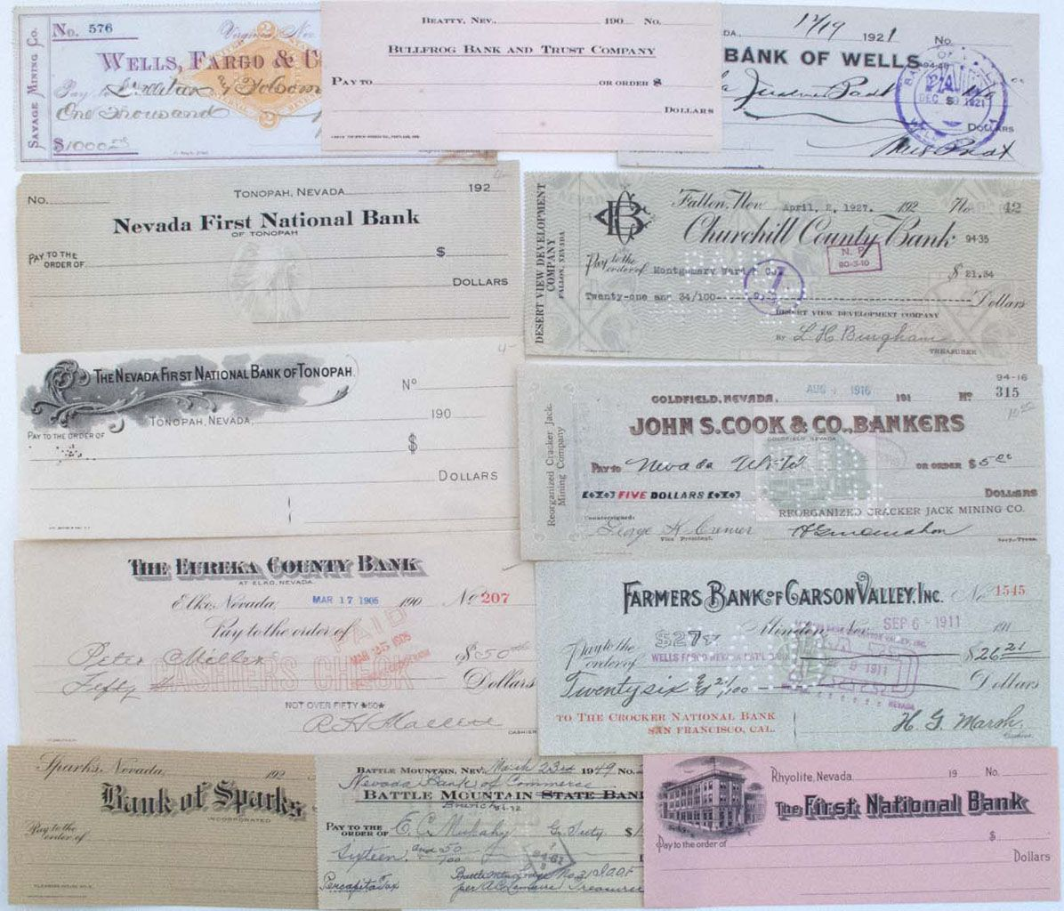 NEVADA TOWNS, CHECK LOT, 1879-1927, LOT OF 12: Check, Wells Fargo ...