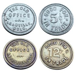 Pair of Saloon Tokens from Leadville-THE OLD OFFICE/GOOD FOR 5 cents IN TRADE- THE OLD OFFICE/GOOD F