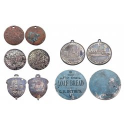 "Group of 5 tokens from Leadville,CO  1.)""BLUE BREAD TOKEN"" unlisted 2.) J.A. SALOON-GOOD FOR A DRINK"
