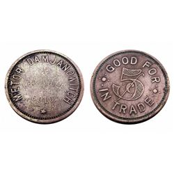 METOR DAMJANOWITCH Token- LEADVILLE COLO. / GOOD FOR 5 cents IN TRADE-only 1 known saloon token of t