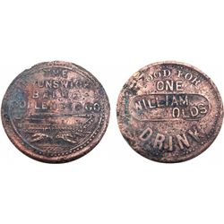WILLIAM OLDS Token-GOOD FOR ONE DRINK/BRUNSWICK BALKE -rare saloon token-1 known-Ref. Pritchard's