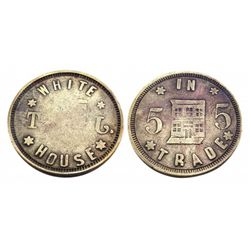 WHITE HOUSE-Saloon Token / 5 IN TRADE- building with boardwalk pictured on reverse-112 E. 3rd Leadvi