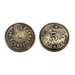 THE BANK*M. SCHNEIDER* Saloon Token / 5 cents IN TRADE-only 5 known-Ref. Pritchard's