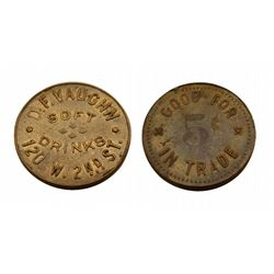 """Bootleg Joint""- Token- D.F. VAUGHN*SOFT DRINKS*120 W. 2ND ST. /  GOOD FOR 5 cents IN TRADE-speakeas"
