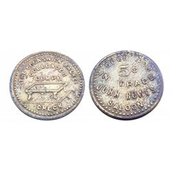 JOHN BOWE'S SALOON-Token-GOOD FOR 5 cents IN TRADE / THE BRUNSWICK BALKE COLLENDER COMPY. CHECK* wit