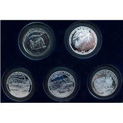 "The Bunker Hill Company. Collection of 5 Silver Display tokens. 999.5 Fine. Each piece is graded ""Br"