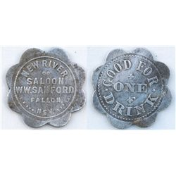 New River Saloon, W W Sanford, Fallon, Nev./Good for One Drink,  See Nevada Trade Tokens, 1990, Fb-2