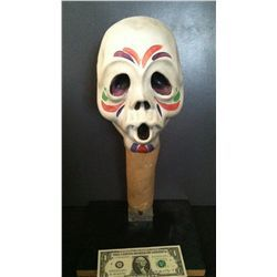 KNOTT'S BERRY FARM MEXICAN INDIAN WARRIOR SKULL HEAD DAY OF THE DEAD HORROR PUPPET PROP