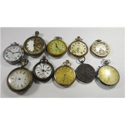 Large Lot Antique Pocket watches For Parts NOT RUNNING 10 watches total