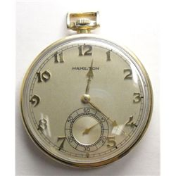 Hamilton Open Face Pocket Watch Runs 14K Gold Filled 917 Grade Size 10 17J