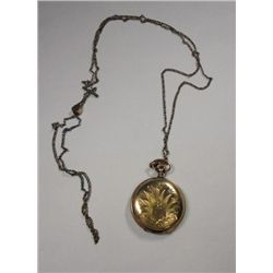 Elgin Hunting Case Pocket Watch with Chain Circa 1891 6 size ?jewel Runs,