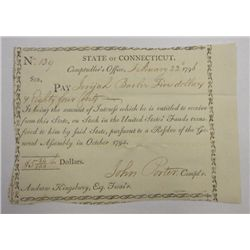 State of Connecticut 1796 Stock Bond, Dated Feb 22, 1796,