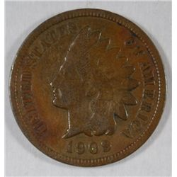 1909-S INDIAN ONE CENT ABOUT FINE, PERFECT