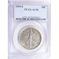 1919-S WALKING LIBERTY HALF DOLLAR PCGS AU 50, VERY RARE AND HARD TO FIND
