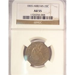 1855 ARROWS SEATED LIBERTY QUARTER NGC AU-55