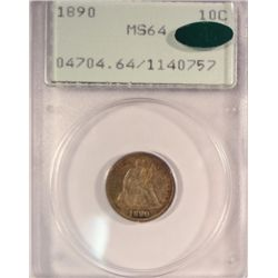 1890 SEATED LIBERTY DIME OLD RATTLER HOLDER PCGS MS-64 CAC  APPROVED