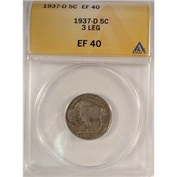 1937-D 3 LEG BUFFALO NICKEL ANACS EF-40