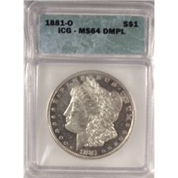1881-O MORGAN DOLLAR ICG MS-64 DMPL