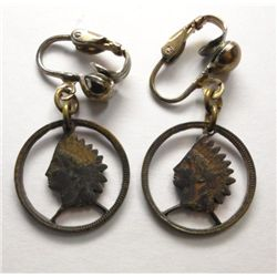Indian Head Cent Clip On Earrings