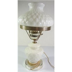 "White Milk Glass electric lamp, with diamond pattern not signed 16"" tall"