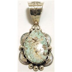 Navajo Dry Creek Turquoise Sterling Silver Pendant - Mary Ann Spencer