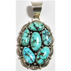 Navajo Spider Web #8 Turquoise Sterling Silver Pendant - Mary Ann Spencer
