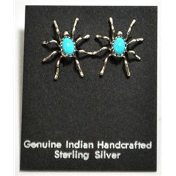 Navajo Turquoise Spider Sterling Silver Post Earrings - Anna Spencer
