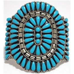 Navajo Turquoise Petit Point Cluster Sterling Silver Cuff Bracelet - Juliana Williams