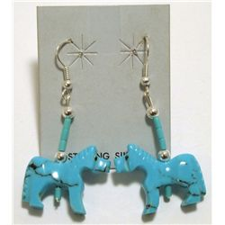 Zuni Turquoise Horse Fetish French Hook Earrings - Todd Etsate