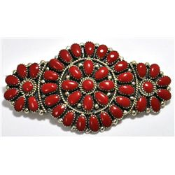 Navajo Coral Cluster Sterling Silver Hair Barrette - Juliana Williams