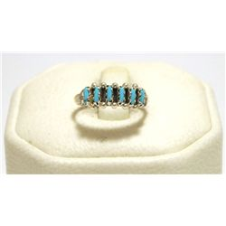 Zuni Turquoise Sterling Silver Women's Ring - Roland Quam