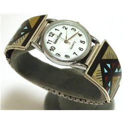Zuni Multi-Stone Inlay Sterling Silver Men's Watch - Leander & Lisa Otholi