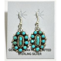 Navajo Turquoise Cluster Sterling Silver French Hook Earrings