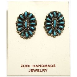 Zuni Turquoise Needlepoint Sterling Silver Post Earrings - Shirley Hattie