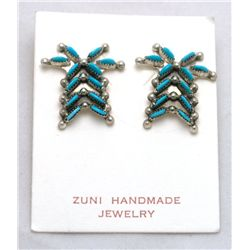 Zuni Turquoise Palm Tree Earrings