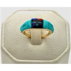 Zuni Multi-Stone 14k Gold Women's Ring