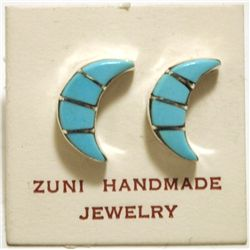 Zuni Turquoise Inlay Crescent Moon Sterling Silver Post Earrings - Norton Kinsel
