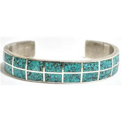 Old Pawn Navajo Spider Web #8 Turquoise Sterling Silver Cuff Bracelet - Morgan